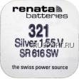 Батарейка часовая, оксид серебра RENATA SR616SW R321 (321-bat)