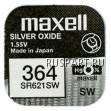 Батарейка часовая, оксид серебра MAXELL SR621SW M364
